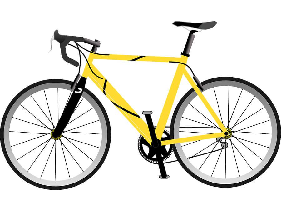 黄色いロードバイク